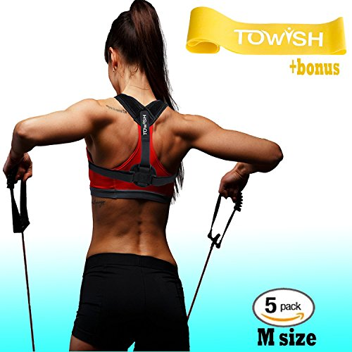 Posture Corrector for Women and Men - Adjustable Back Support - Premium Aid Back Brace Helps with Bad Shoulder,Clavicle Alignment and Cervical Neck Pain - Figure 8 Medical Correction Device M size by Towish