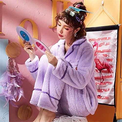 Manga Servicio Baijuxing Coral De Domicilio Pijamas Hembra Otoño E Traje A Cálido L Invierno Grueso Franela Casual Terciopelo Larga Lindo aqcaOwEr