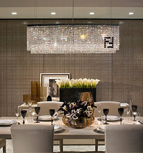 Siljoy Modern Rectangular Chandelier Dining Room Chandeliers Lighting Island Crystal Pendant Lamp, H16