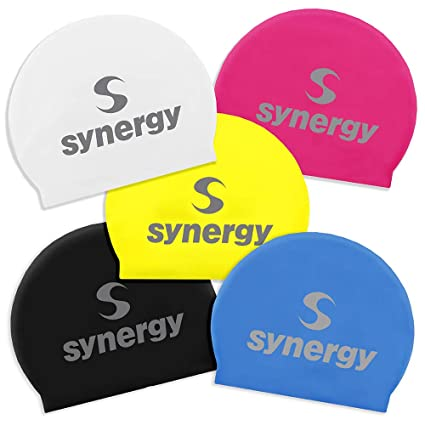 0507fbe8dd96 Amazon.com   Synergy Latex Swim Caps 5-Pack (Black Blue Pink White ...