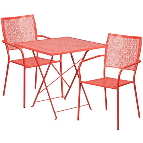 MFO 28'' Square Coral Indoor-Outdoor Steel Folding Patio Table Set with 2 Square Back Chairs