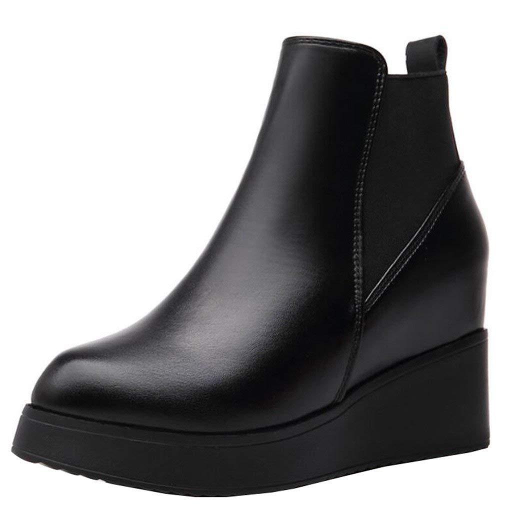 Qiusa Elastische spitz zulaufende Plattform-Keilabsatz-Chelsea-Stiefel mit mit mit Keilabsatz 0f6d4d