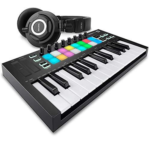 Novation Launchkey Mini MK3 25-Key USB MIDI Keyboard Controller + Tascam TH-07 High-Definition Monitor Headphones & Fibertique Microfiber Cleaning Cloth