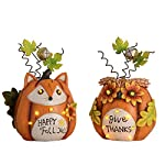Valery Madelyn Fall Decorations Pumpkin with Solar Lights, Thanksgiving Decorations Pumpkins with Fox and Owl Face, Set of 2 Resin Figurines, 8 inch Tall