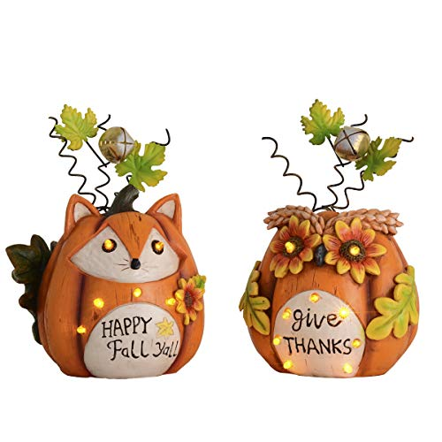 Thanksgiving Decorations Pumpkins with Fox and Owl Face with Solar Lights
