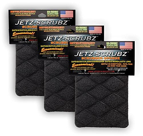 Jetz-Scrubz Scrubber Sponge, Rectangular, Set of 3, Made in the USA
