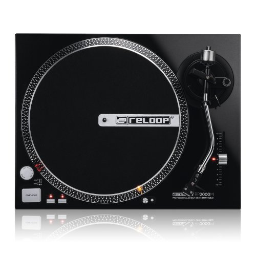 Reloop RP-2000-M DJ Turntable with Quartz Driven Direct Drive, Metallic Black