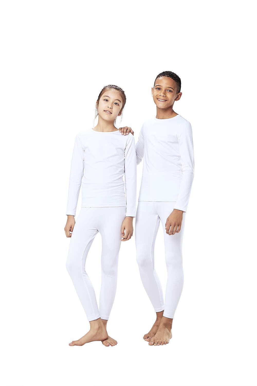 DEVOPS Boys & Girls Thermal Heat-Chain Microfiber Fleece Underwear Baselayer Top & Bottom (Long Johns) Set (X-Large, White) by DEVOPS