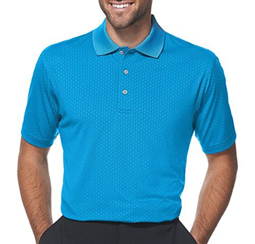 PGA TOUR Men's Mini Jacquard Golf Short Sleeve Polo (Small, Seaport)