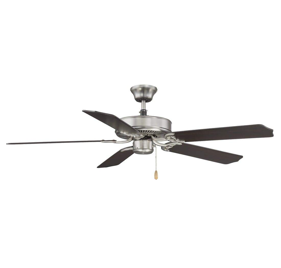 Savoy House 52-FAN-5CN-SN Downrod Mount, 5 Chestnut Blades Ceiling fan, Satin Nickel