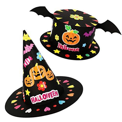 Amosfun 4Pcs DIY Halloween Hats Pumpkin and Bat Black Halloween Hat Halloween Costumes Children's Party Decoration Children's Hats]()