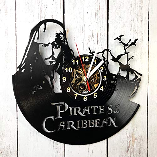Pirates Of The Caribbean Jack Sparrow Vinyl Record Wall Clock - Best Gift for Boss Dad Mom Boy Girl Kovides Vinyl Wall Clock Home Decoration Room Inspirational, Vinyl Wall Clock Silent Wall Art (5)