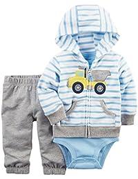 Baby Boys 3-Piece Short-Sleeve Safari Bodysuit, Blue, 3 Months