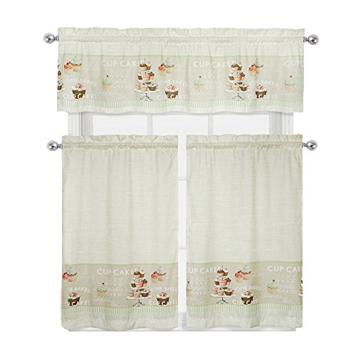Regal Home Collections Cupcakes Complete 3 Pc. Kitchen Curtain Tier & Valance Set