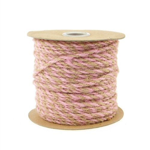 Homeford Firefly Imports Jute Twine Cord Ribbon Bi-Colored, 5/64-Inch, 50 Yards, Light Pink, by Homeford