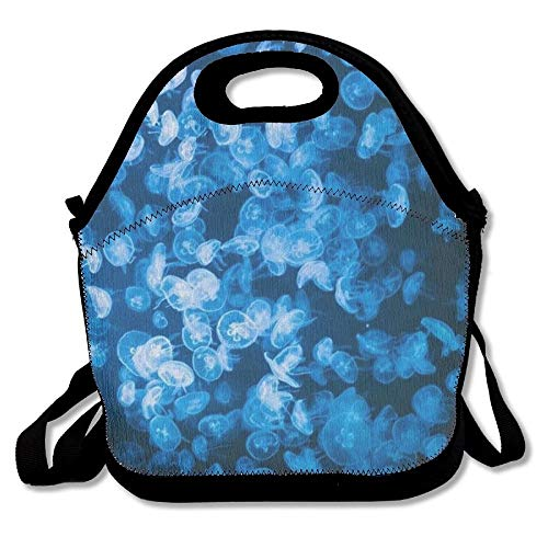 - Junnikay Deep Sea Jellyfish Blue Insulated-Lunch Bags Travel/Outdoor/Work/Picnic Lunchbox Shoulder Bag Design Lunch Box Accessories For Kids Adults