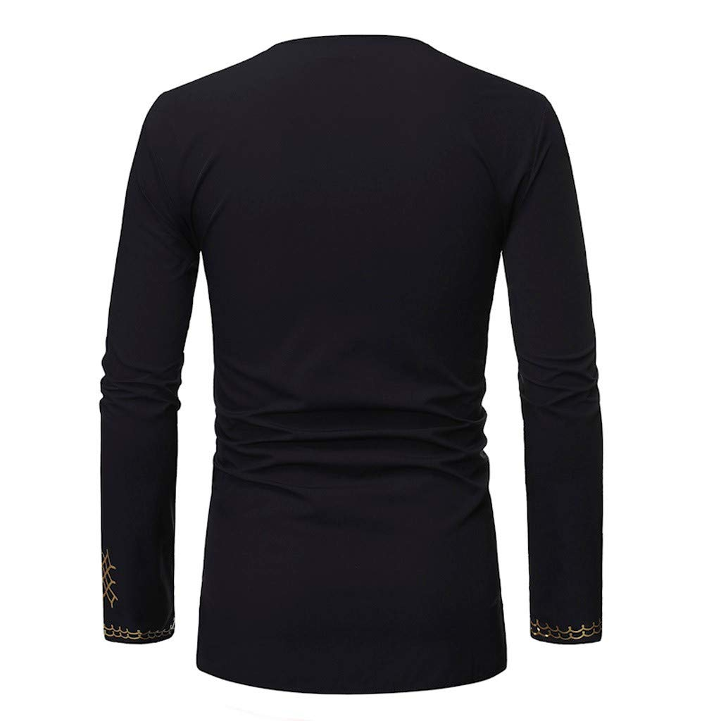 TUSANG Men Tees Vintage African Print Printed Long Sleeve V-Neck T-Shirt Top Blouse Slim Fit Comfy Tunic