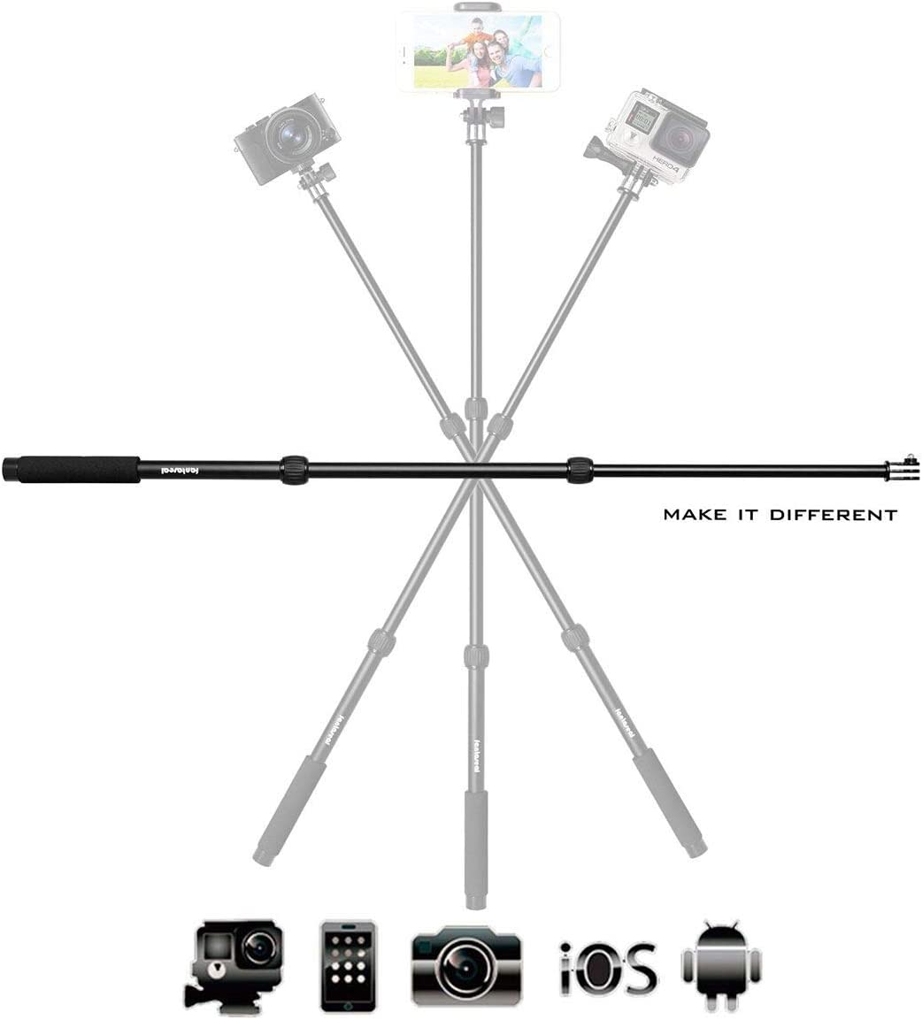 3in1 Aluminum Alloy X-Sports Selfie Stick Action Camera Smartphone Monopod Pole for GoPro Sony DJI OSMO Action Motion Camcorder DV iPhone Samsung Mobile Cell phone Nikon Canon DC-(3 Section/35-85cm)