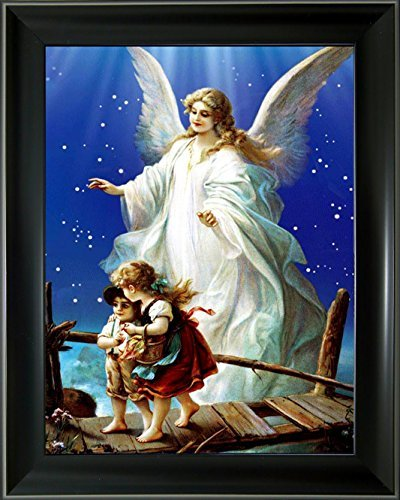 Lee's Collection Guardian Angel 3D Holographic Animated Picture with Black Frame-14.5 Inches x 18.5 Inches