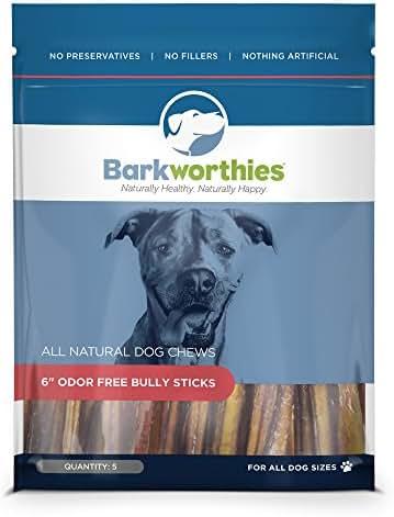 Dog Treats: Barkworthies Odor-Free 6-inch Bully Sticks