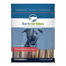 Barkworthies Odor-Free Bully Stick Treat, 6\