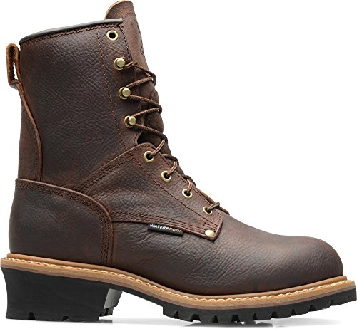 X Boot  8 Inch Waterproof Steel Toe Logger, Brown Leather, US M 8 D