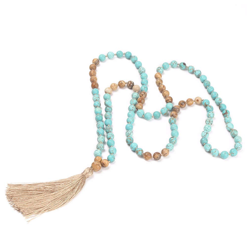 GVUSMIL 108 Mala Beads Necklace Natural Healing Energy Gemstone Charm Jewelry for Buddhist Prayer Rosary Meditation Hand Knitted Beaded Tassel Necklace Yiwu Changsi Jewelry CO. LTD 1245