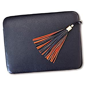 BFB Genuine Leather 13 inch Laptop Sleeve Case Cover - Beautiful and Practical - Handmade Designer Quality That Lasts - Business Never Looked so Good Navy