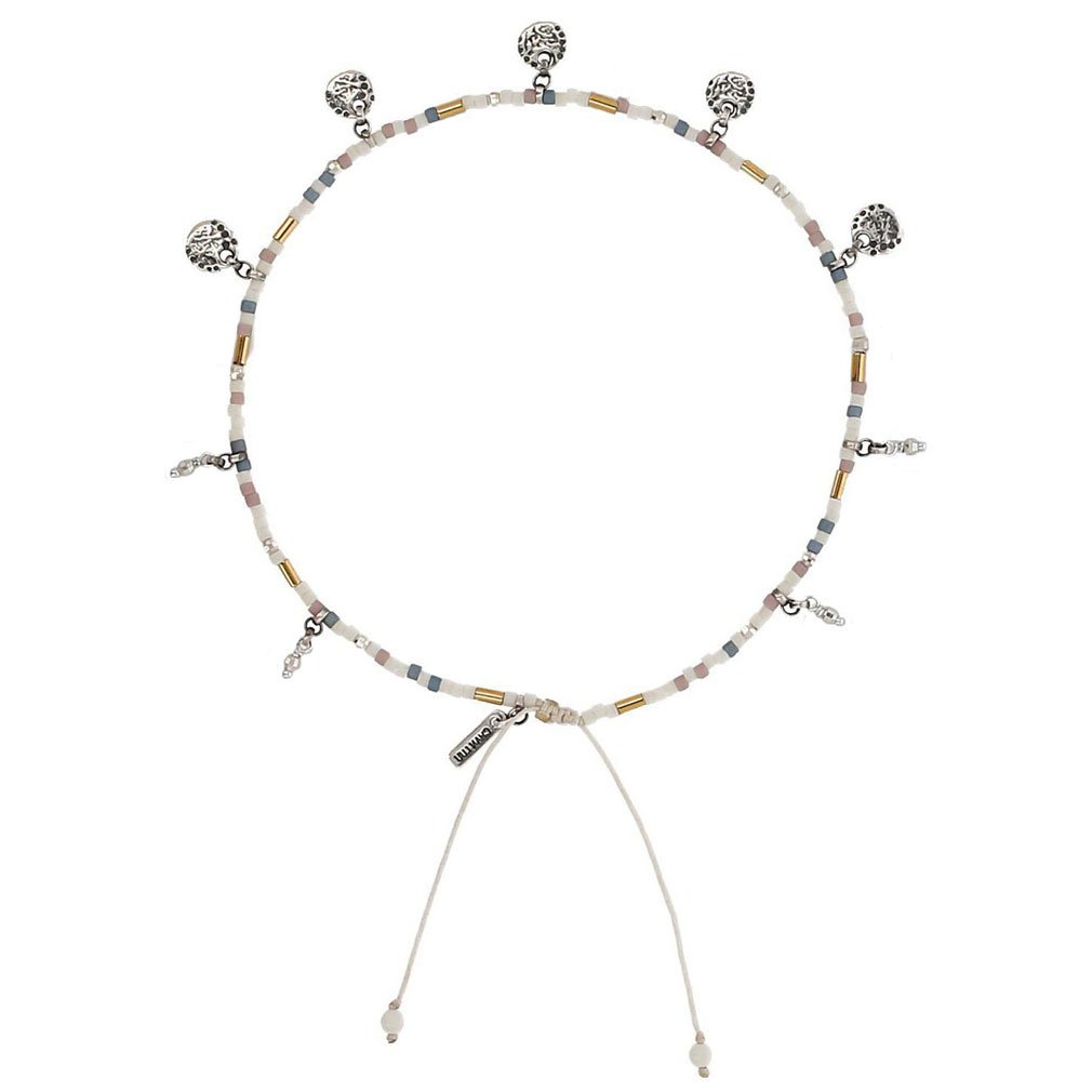 Chan Luu Pull Tie Hanging Coins Cream Mix Anklet