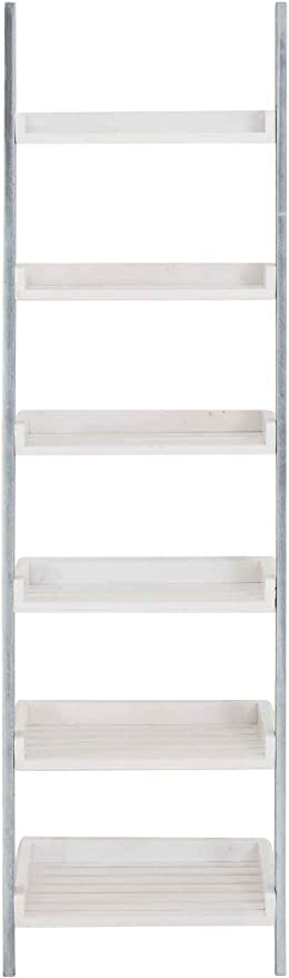 CLP Estantería Escalera Skylar con 6 Estantes I Estantería con Estilo Rústico I Estantería de 6 Estantes I Estantería Libreria Color: Blanco/Gris: Amazon.es: Hogar