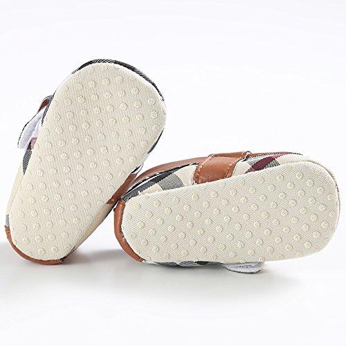 Fire Frog Plaid Penny Loafer - Zapatos primeros pasos de Piel Sintética para niño marrón