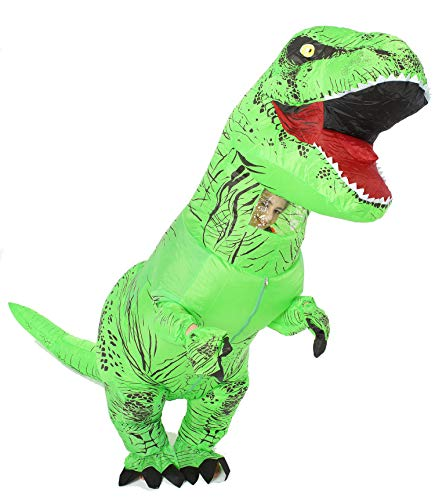 GOPRIME Dinosaur Costume, Halloween Party Dress, Fantastic Dino Theme Cosplay (Green) -
