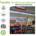 Hykolity 6 Pack 8FT LED Shop Light, Linkable Industrial Linear Strip Light for Garage, 72W (150W Equiv.) 9360lm 5000K Clear V-Shaped Integrated Fixture for Workshop Warehouse Basement,ETL Listed