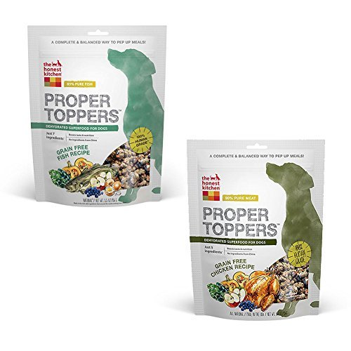 Honest Kitchen Bundle: The Human Grade Dehydrated Grain Free Dog Food Topper Variety Pack - 2 Flavors - 5.5 Ounce - Fish and Chicken (2 Pack)