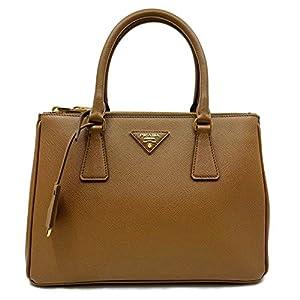 Prada 1BA863 F0401 Small Saffiano Lux Cannella Brown Double Zip Leather Handbag