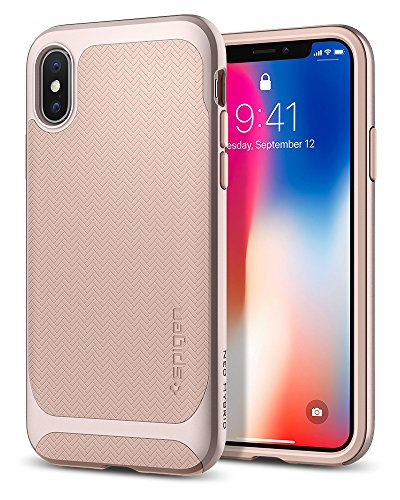Spigen Neo Hybrid iPhone X Case Herringbone with Flexible Inner Protection and Reinforced Hard Bumper Frame for Apple iPhone X (2017) - Pale Dogwood & Platinum Gold