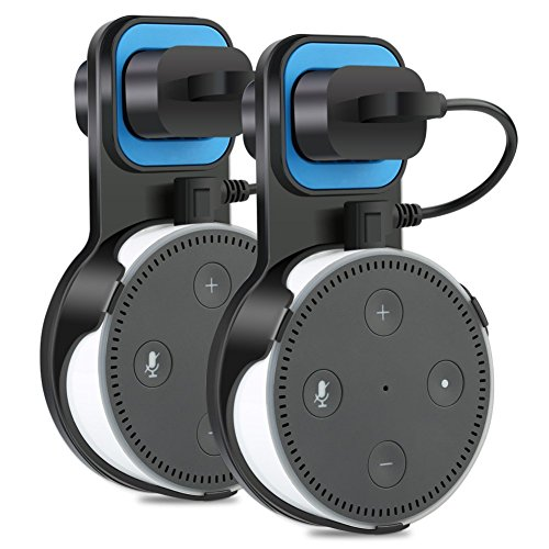 TUTU TECH Essential Outlet Wall Mount Hanger Stand for Amazon Echo Dot 2nd Generation with Charging Cable, Space-saving Accessory for Smart Home Speakers without Messy Wires or Screws, 2-Pack, Black