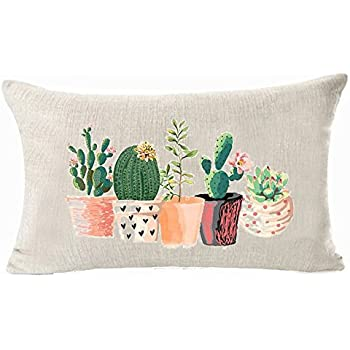 Bonsai - Cactus Aremazing Watercolor Succulent Cactus Decorative Super Soft Throw Pillow Covers Creative Teacup Bonsai Throw Waist Pillow Case Cushion Cover Protector 18x18 Inch Square Outdoor Decor