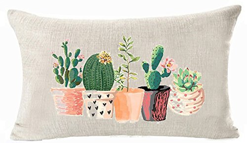 Bnitoam Art Potted Succulents Cactus Flowers Cotton Linen Throw Pillow Covers Case Cushion Cover Sofa Decorative Square 12 X 20 inch (1) ()