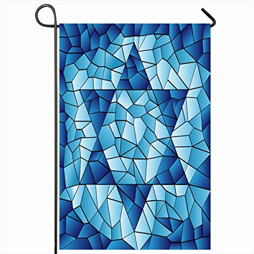 "Nick Thoreaufhed Outdoor Garden Flags 12""x18"" Inch Blue Hanukkah Six Pointed Star Stained Chanukah Jewish David Passover Glass Window Pattern Design Vertical Double Sided Home House Yard Sign"