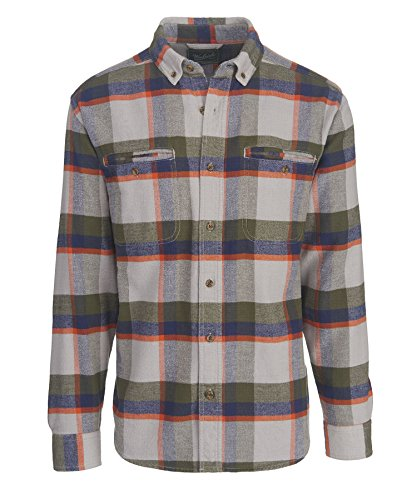 Pass Plaid Shirt (Woolrich Men's Oxbow Pass Plaid Flannel Shirt - 100% Organic Cotton, GEYSER HERRINGBONE (Gray), Size M)