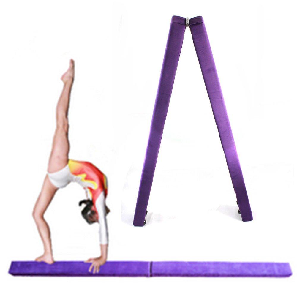 ONEPACK Gym Balance Beam - 7ft Purple Folding Wood Core Donkey Kicks/Handstands, Jumps, Leaps