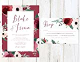 Marsala and Blush Wedding Invitation, Blush and Maroon Wedding Invitation, Fall Roses Wedding Invitation
