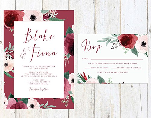 Marsala and Blush Wedding Invitation, Blush and Maroon Wedding Invitation, Fall Roses Wedding Invitation by Alexa Nelson Prints