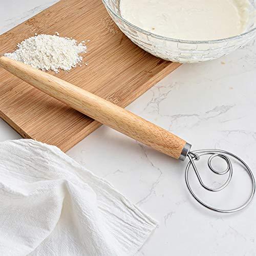 AuFreedo 2 Pcs Danish Dough Whisk 13.5 Inch-For Bread Making,Baking Cake,Pizza,Pastry,Sourdugh,Dessert,etc.