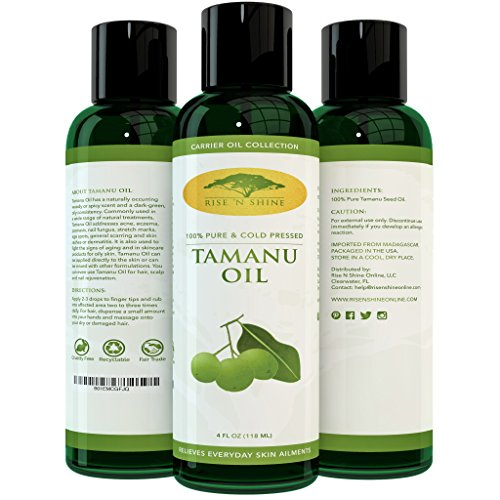 (4 oz) Pure Tamanu Oil - 100% Organic, Unrefined and Cold Pressed Tamanu Nut Oil - Natural Relief for Dry Scaly Skin, Blisters, Eczema, Acne Scars, Psoriasis and Rejuvenates Hair with RECIPE (Alcohol Free Roll)