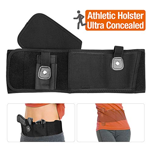 Belly Band Holsters Concealed Carry - Athletic Gun Holster Belt for Women & Man Running, Jogging, Hiking with Mag and Phone Pouch for Glock, Sig Sauer, Beretta, S&W M&P, Ruger, Revolver (Right 40'')