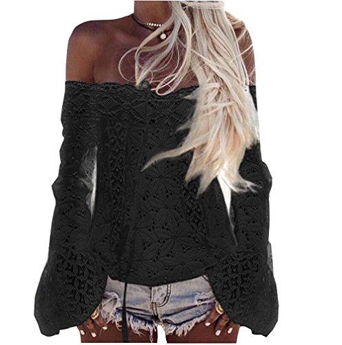 Haut Shirt Manches Noir Tops Longues Shirt Blouse Nue Femme Casual paule Dentelle wI8IAq