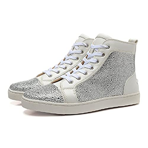 quality design 9e266 4d434 White Leather Silver Rhinestone Louboutin Women High ...