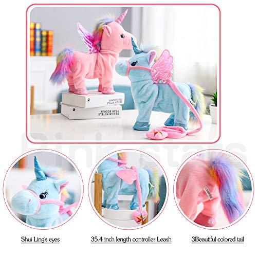 Electric Unicorn Pet Kids Leash Plush Pink Wings Stuffed Animal Toy,Sing Song Walk Twisting Super Cute Ass Unicorn Child Girl Baby Accompany Sleeping Animal Soft Toys Gift by Pink stars (Image #1)
